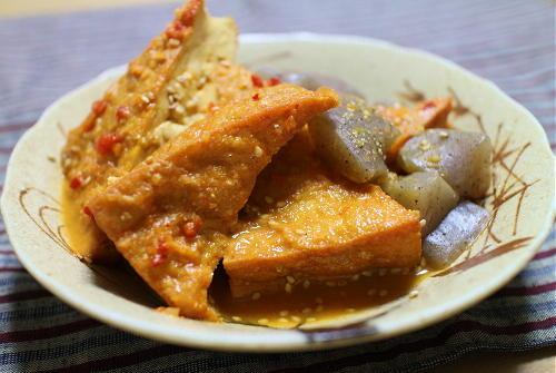 厚揚げとこんにゃくのピリ辛味噌煮レシピ
