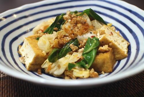 今日のキムチ料理レシピ:厚揚げとキャベツのキムチひき肉炒め