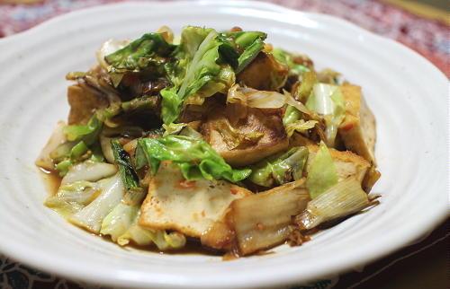 今日のキムチレシピ:厚揚げとキャベツとキムチのみそ炒め