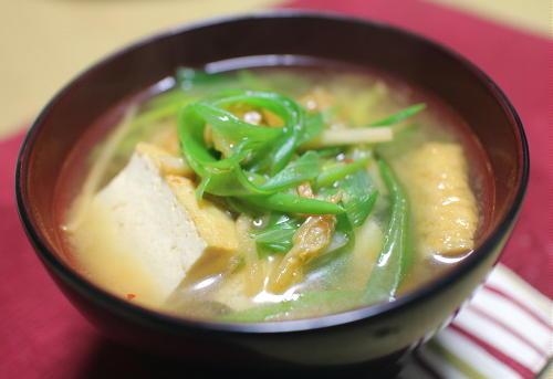 今日のキムチレシピ:厚揚げとキムチの味噌汁