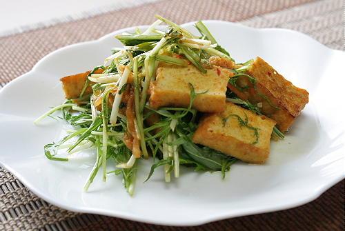 今日のキムチ料理レシピ:厚揚げとキムチの味噌炒め