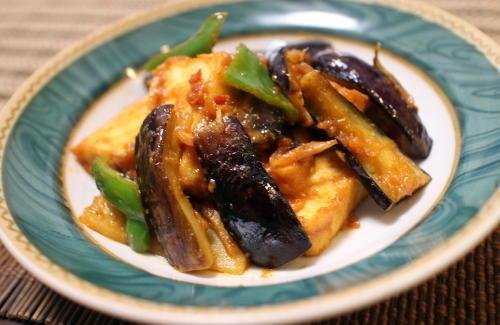 今日のキムチ料理レシピ:厚揚げと茄子のピリ辛みそ炒め