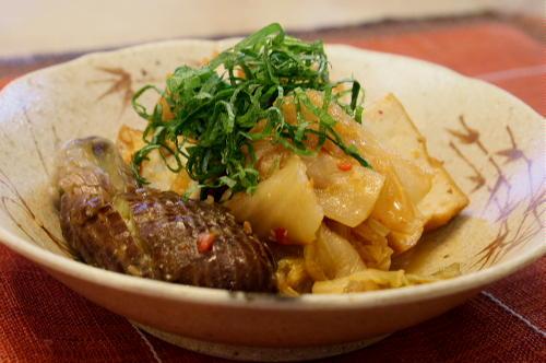 今日のキムチ料理レシピ:厚揚げとなすとキムチの味噌煮