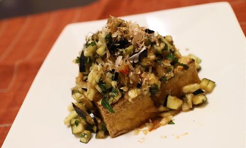 今日のキムチ料理レシピ:厚揚げの茄子キムチだれ
