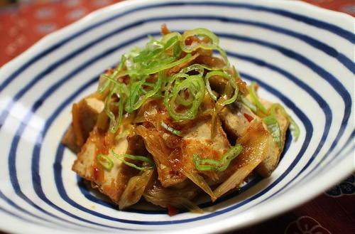 今日のキムチ料理レシピ:厚揚げのピリ辛煮