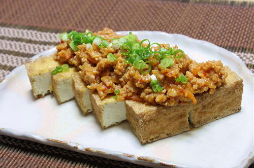今日のキムチ料理レシピ:厚揚げキムチひき肉味噌