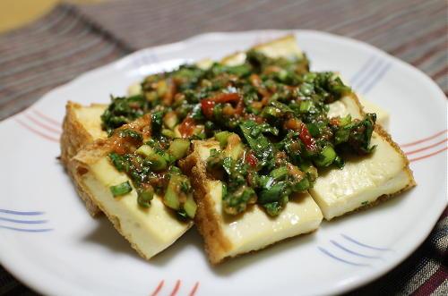 今日のキムチ料理レシピ:厚揚げのピリ辛ニラソース