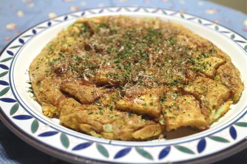 今日のキムチレシピ:厚揚げとキムチのお好み焼き