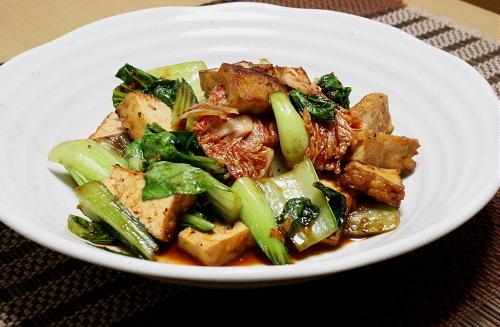 今日のキムチ料理レシピ:厚揚げとキムチのオイスターソース炒め