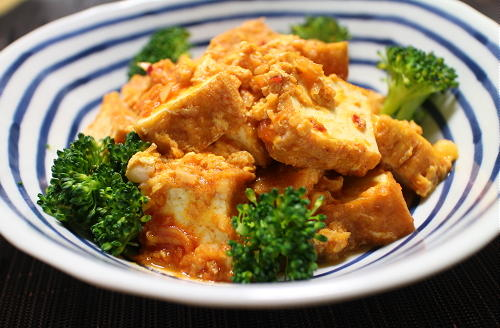 今日のキムチ料理レシピ:厚揚げのピリ辛ケチャップ炒め