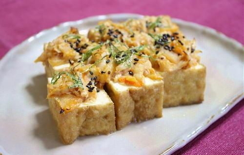 今日のキムチ料理レシピ:厚揚げのツナキムチ焼き
