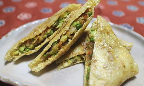 今日のキムチ料理レシピ:アボカドとキムチの包み焼き