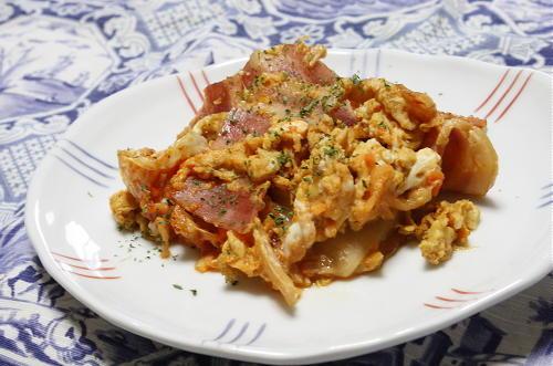 今日のキムチ料理レシピ:ベーコンキムチエッグ