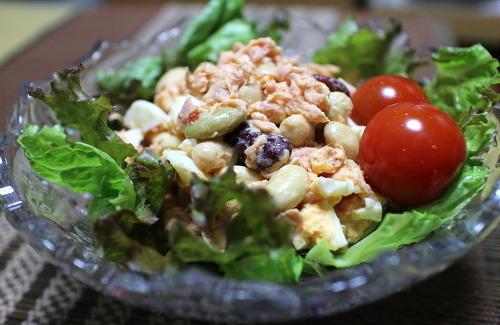 今日のキムチレシピ:ミックスビーンズのツナキムチサラダ