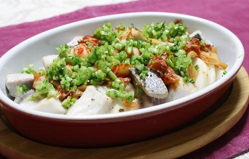 今日のキムチ料理レシピ:ぶりとカブとキムチのオーブン焼き