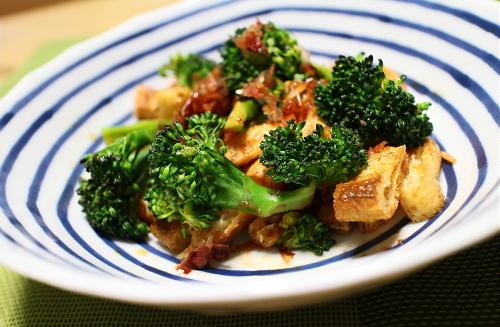 今日のキムチ料理レシピ:ブロッコリーと油揚げのピリ辛おかか和え