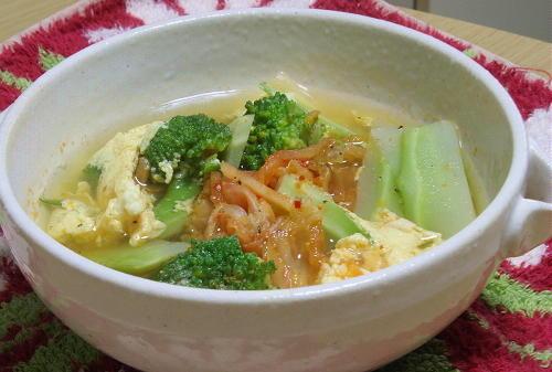 今日のキムチ料理レシピ:ブロッコリーとキムチのかき玉汁