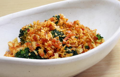 今日のキムチ料理レシピ:ブロッコリーのピリ辛パン粉焼き
