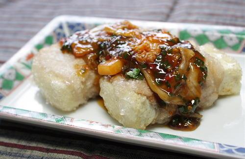 今日のキムチ料理レシピ:豆腐の豚肉巻きキムチあんかけ