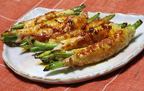 今日のキムチ料理レシピ: いんげんの豚肉巻き(甘辛だれ)