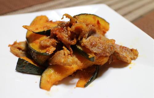 今日のキムチ料理レシピ:かぼちゃと豚肉の味噌キムチ炒め