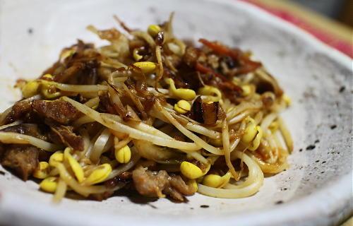 今日のキムチ料理レシピ:豆もやしの豚キムチ炒め