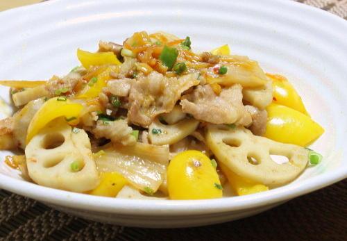 今日のキムチ料理レシピ:豚肉とレンコンとキムチのオイスターソース炒め