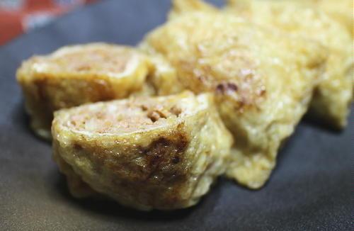 今日のキムチ料理レシピ:ピリ辛ひき肉油揚げつつみ焼き