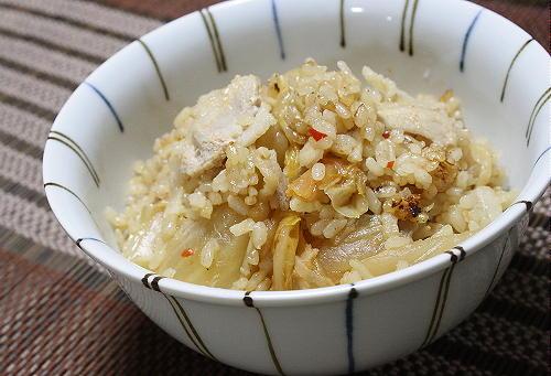 今日のキムチレシピ豚肉とキムチの炊き込みご飯