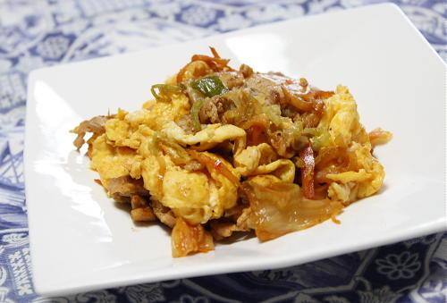今日のキムチ料理レシピ:豚キム卵