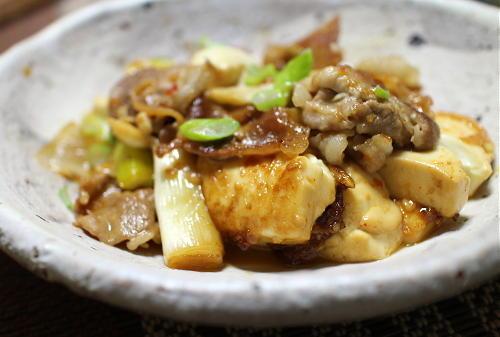 今日のキムチ料理レシピ:ネギキムチ肉豆腐