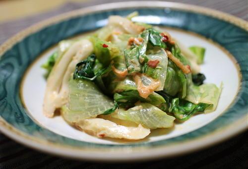 今日のキムチ料理レシピ:レタスとちくわのピリ辛マヨ和え