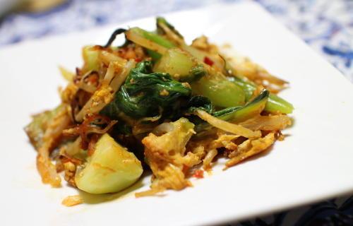 チンゲン菜とキムチの卵炒めレシピ