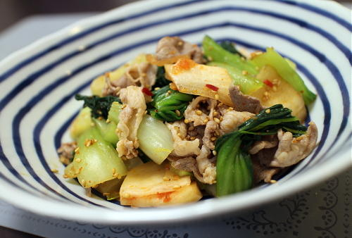 今日のキムチレシピ:チンゲン菜と豚肉とキムチのポン酢和え