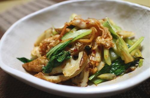 今日のキムチレシピ:チンゲン菜とちくわのキムチ和え
