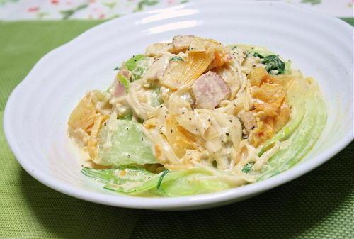 青梗菜とキムチのクリームパスタ