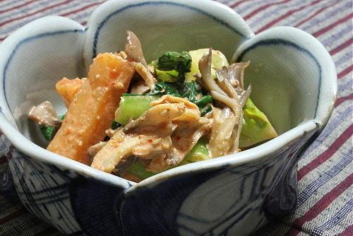 青梗菜と大根キムチのごまマヨ和えレシピ
