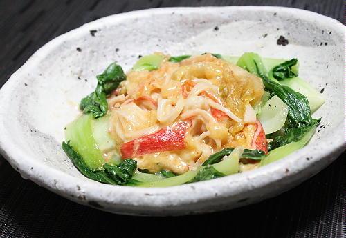 今日のキムチ料理レシピ:チンゲンサイのカニカマキムチあんかけ