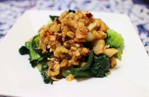 今日のキムチレシピ:青梗菜のキムチクルミドレッシング