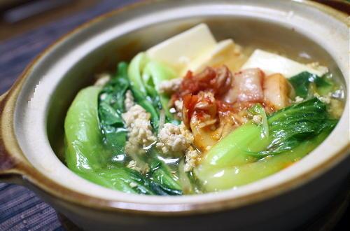 今日のキムチ料理レシピ:青梗菜と豆腐のキムチ煮