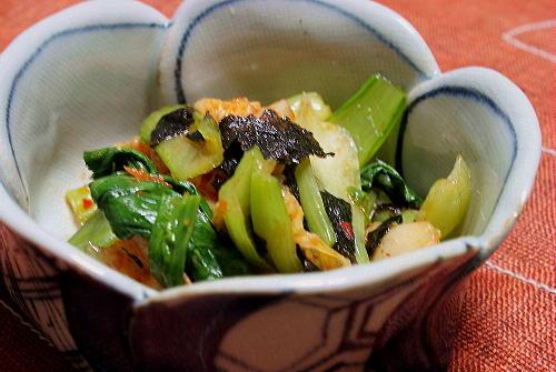 今日のキムチ料理レシピ:青梗菜とキムチの海苔和え