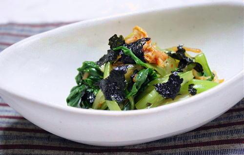 今日のキムチ料理レシピ:チンゲンサイとキムチの海苔和え