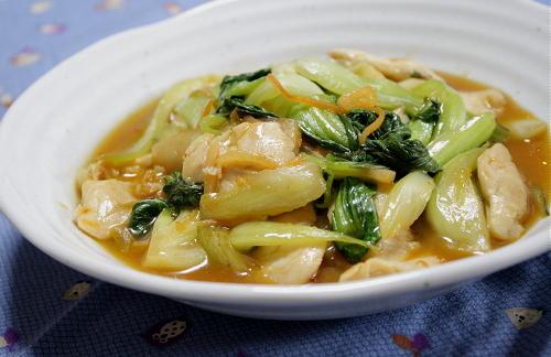 今日のキムチ料理レシピ:チンゲンサイとキムチの中華炒め