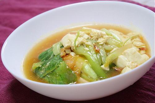 青梗菜と豆腐のキムチとろみあん