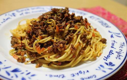 今日のキムチ料理レシピ:キムチひき肉のカレーパスタ