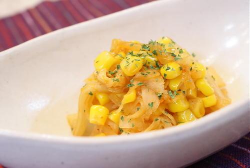 今日のキムチ料理レシピ:大根とコーンとキムチのバター醤油炒め