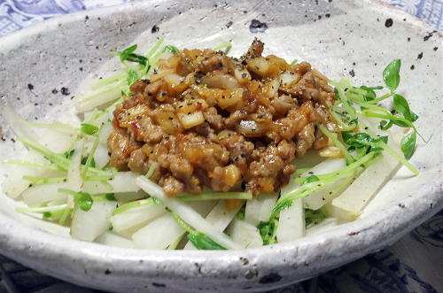 今日のキムチ料理レシピ:大根のキムチ肉みそあんかけ