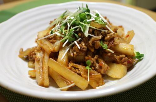 今日のキムチ料理レシピ:大根のキムチひき肉煮