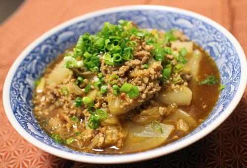 今日のキムチレシピ:大根のキムチひき肉あん煮込み