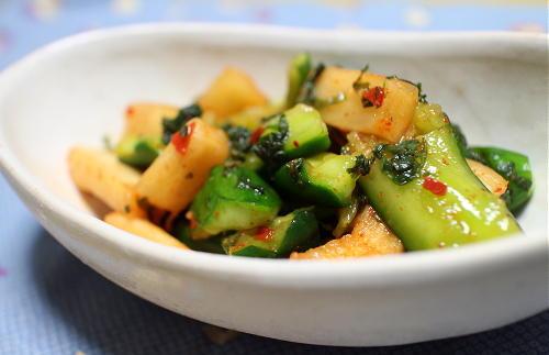 きゅうりと大根キムチの大葉マヨ和えレシピ